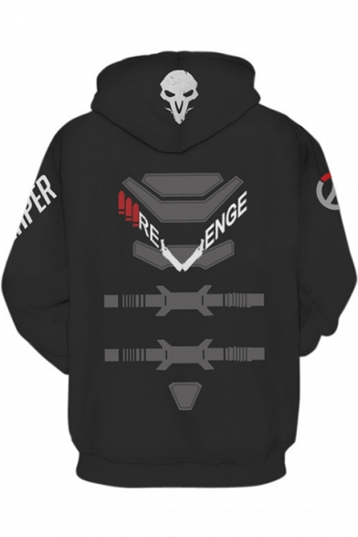 Overwatch DVA 3D Printed Game Cospaly Costume Black Relaxed Fit Hoodie