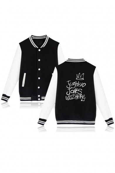 Riverdale Crown Letter Stand-Collar Long Sleeve Colorblock Button Down Baseball Jacket