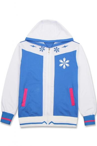 Hatsune Miku Comic Printed Colorblock Long Sleeve Zip Up Blue Hoodie