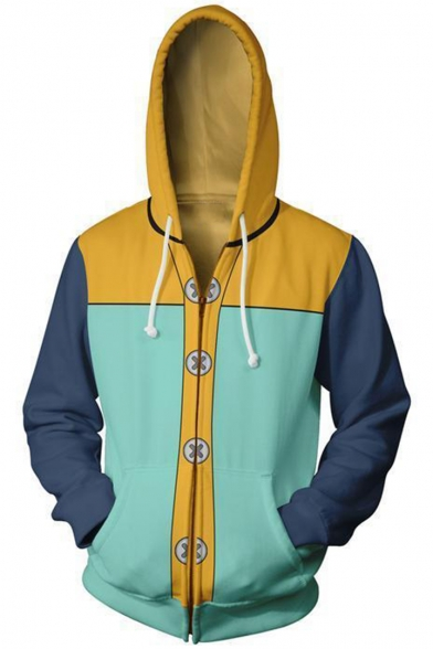 Seven Deadly Sins 3D Comic Cosplay Costume Fashion Colorblocked Long Sleeve Full Zip Hoodie