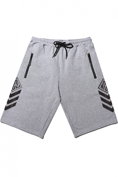 Street Fashion Simple Stripe Print Drawstring-Waist Athletic Sweat Shorts for Men