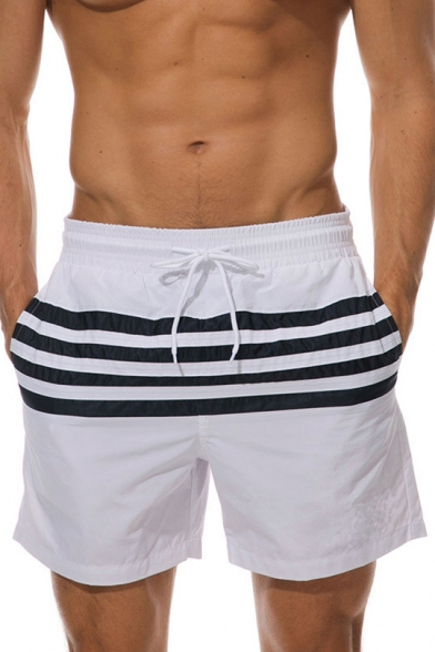 Summer New Stylish Colorblock Drawstring Waist Breathable Beach Holiday Swim Shorts for Men