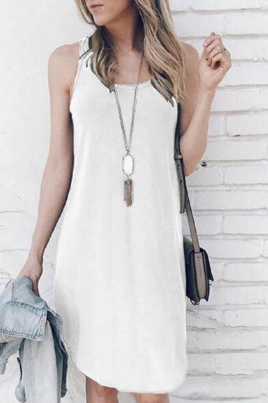 Summer Simple Plain Scoop Neck Sleeveless Casual Loose Midi Tank Dress