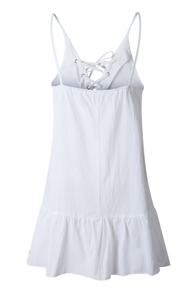 Summer Womens New Fashion Lace-Up Front Chic Ruffle Hem Simple Plain Mini Slip Dress