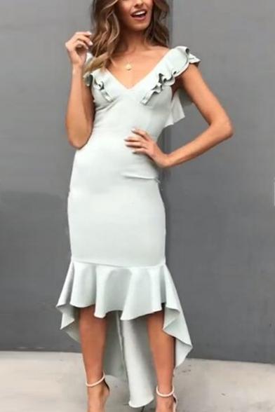 Women's New Trendy Plain V-Neck Ruffled Hem Sleeveless Dipped Hem Bodycon Asymmetrical Dress