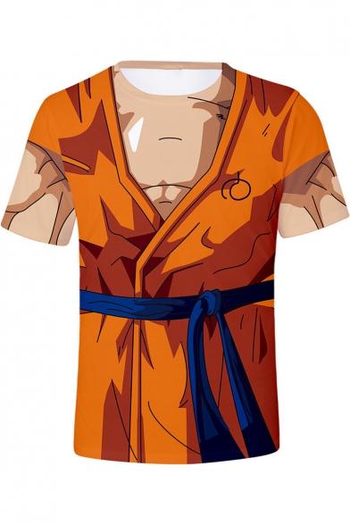 Dragon Ball Goku 3D Muscle Pattern Round Neck Short Sleeve Khaki T-Shirt