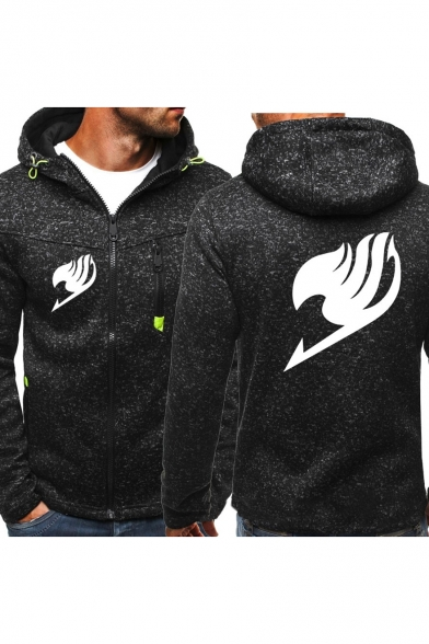 Fairy Tail Logo Printed Fashion Heather Color Mens Full Zip Sport Casual Hoodie