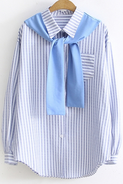 Fashion Tied Collar One Pocket Chest Casual Loose Long Sleeve Striped Button Down Shirt