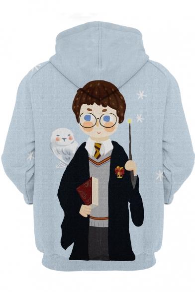 Harry Potter Trendy 3D Comic Character Printed Long Sleeve Light Blue Drawstring Hoodie
