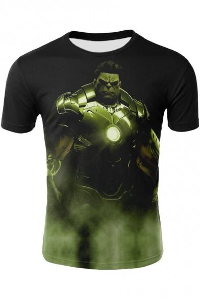 Hulk Cool 3D Film Figure Printed Short Sleeve Black T-Shirt