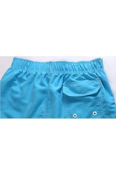 Men's New Fashion Colorblocked Drawstring Waist Beach Casual Swim Shorts