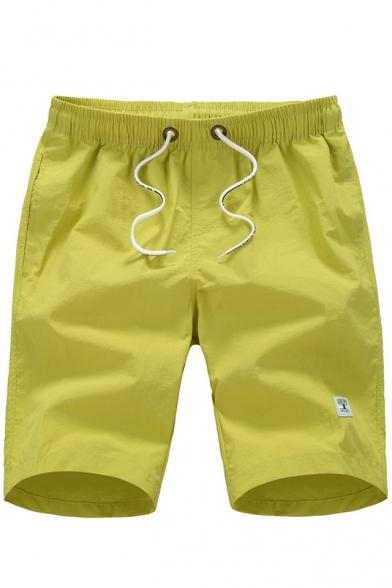 Mens Basic Simple Plain Drawstring Waist Quick-Dry Beach Holiday Relaxed Shorts