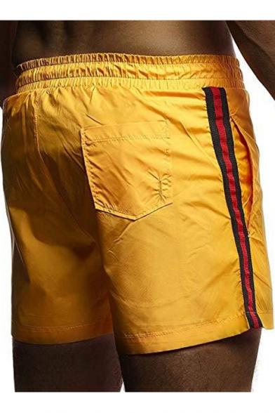 Mens New Fashion Stripe Tape Side Drawstring Waist Quick-Dry Beach Swim Trunks