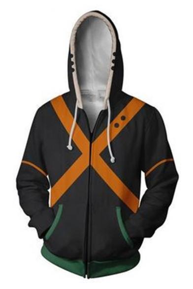 My Hero Academia 3D Colorblocked Cosplay Costume Long Sleeve Zip Up Black Hoodie