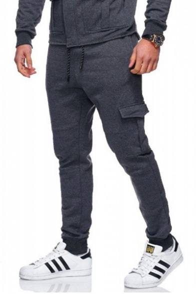 New Trendy Simple Plain Drawstring Waist Flap Pocket Side Cotton Sport Sweatpants for Men