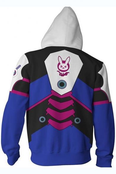 Overwatch Comic Character Cosplay Costume Long Sleeve Full Zip Blue Hoodie