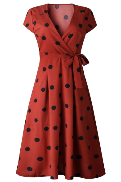 Polka-Dot Print Plunge Neck Knotted Waist Short Sleeve Midi A-Line Dress