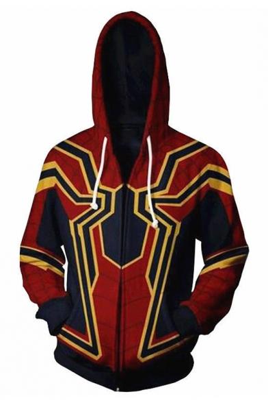 Popular Avengers 3 Spider-Man Print Long Sleeve Red Zip Up Drawstring Hoodie