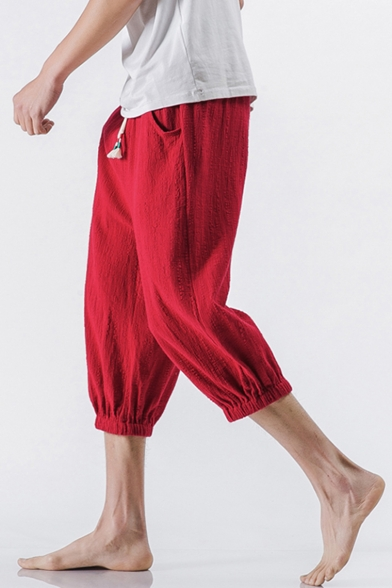 cbd481156 ... Retro Chinese Style Summer Beach Simple Plain Cropped Loose Linen Pants  for Men