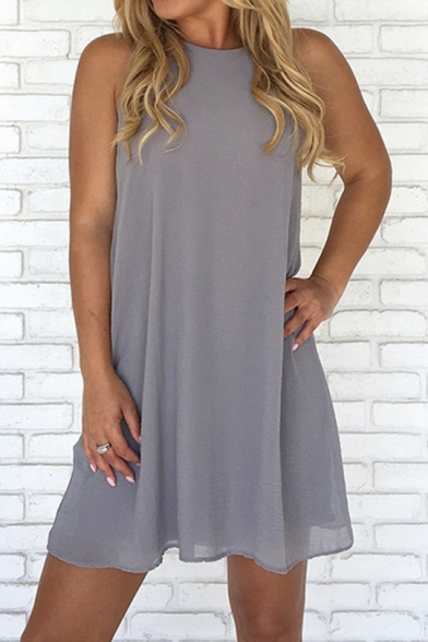 Simple Plain Round Neck Sleeveless Mini Chiffon Swing Dress for Women