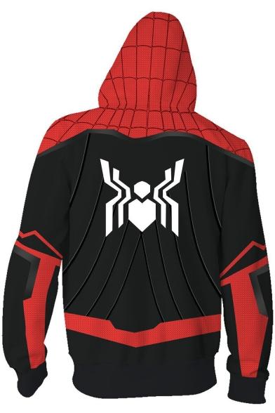 3D Printed Cosplay Costume Full-Zip Long Sleeve Red Sport Hoodie