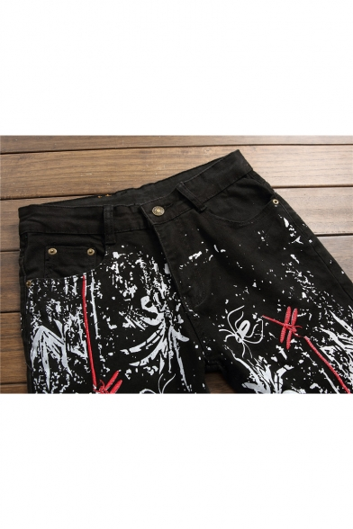 Stylish Ink Dragonfly Embroidery Stretch Regular Fit Black Jeans