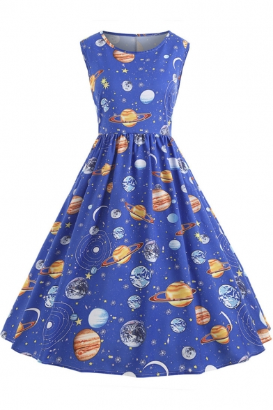 Stylish Round Neck Sleeveless Galaxy Starry Sky Planet Printed Midi A-Line Dress