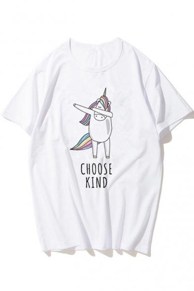 Summer Cartoon Unicorn Letter CHOOSE KIND Printed Short Sleeve White Tee