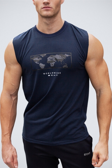 Trendy Map Letter WORLDWIDE Printed Men's Outdoor Training Sports Bro Tank Top