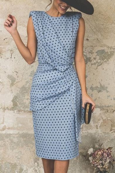 Women's Vintage Polka-Dot Print Round Neck Sleeveless Ruched Detail Midi Sheath Dress