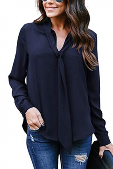 Womens Graceful Simple Plain V-Neck Long Sleeve Casual Loose Chiffon Blouse