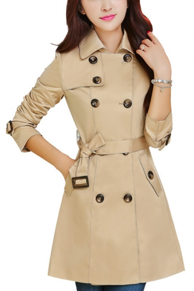 Double Breasted Lapel Collar Long Sleeve Tie Waist Plain Tunic Trench Coat