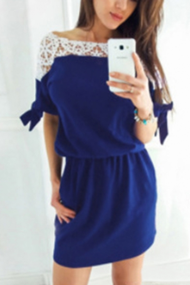 Fashion Sexy Hollowing Out Lace Patchwork Tied Waist Half Sleeve Mini Sheath Dress
