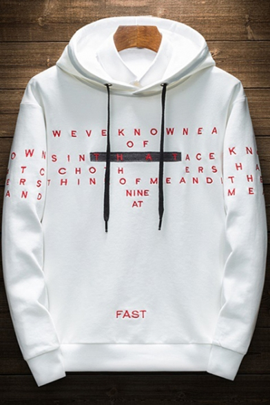 Guys Fashion Patched Fake Two-Piece Simple Letter FAST Embroidery Long