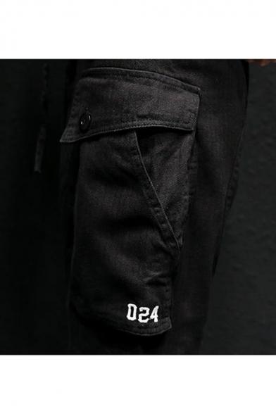 Guys Summer New Stylish Simple Plain Drawstring Waist Casual Loose Cargo Shorts