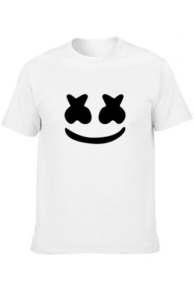 Smile Face Printed Basic Short Sleeve Cotton T-Shirt