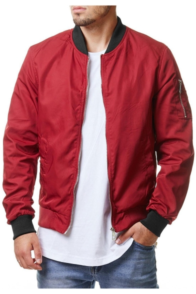 Men's Cool Simple Plain Stand-Collar Long Sleeve Zip Up Bomber Jacket