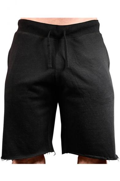 Men's New Stylish Drawstring-Waist Frayed Hem Contrast Piping Simple Plain Running Sweat Shorts
