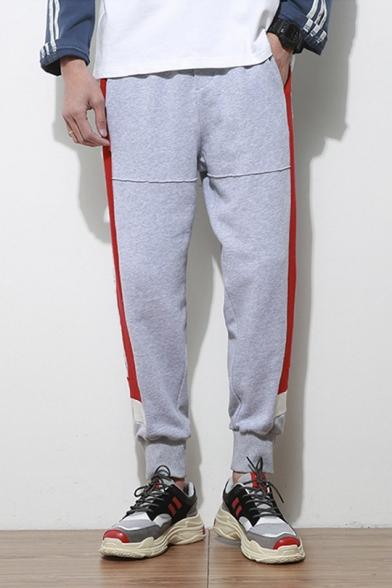 Mens Street Style Colorblock Letter Print Side Drawstring Waist Casual Cotton Sweatpants