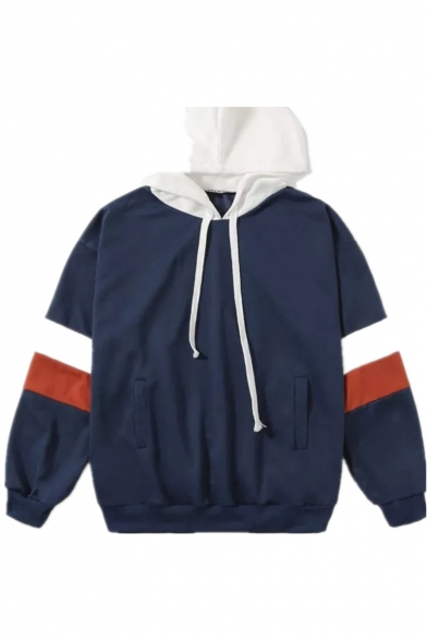 New Fashion Colorblocked Long Sleeve Casual Loose Drawstring Hoodie