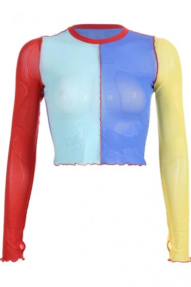 New Stylish Fashion Colorblocked Round Neck Long Sleeve Cropped Slim Mesh T-Shirt
