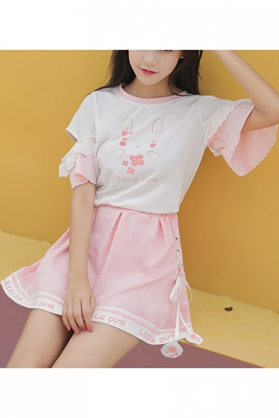 Rabbit Letter Printed Color Block Hollow Out Short Sleeve Tee with Lace Up Side Mini A-Line Skirt Co-ords, LC473724