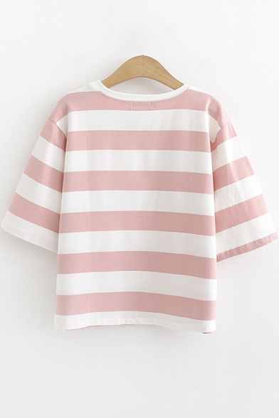 Summer Cute Cartoon Cat Round Neck Classic Striped Cotton Loose T-Shirt