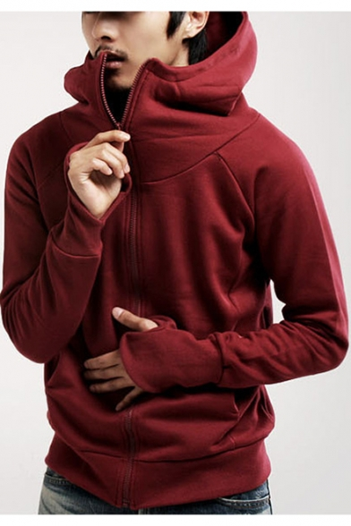 Teenage Fashion Glove Long Sleeve Solid Zip Up Hoodie with Pocket
