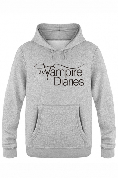 The Vampire Diaries Letter Print Long Sleeve Pullover Casual Hoodie