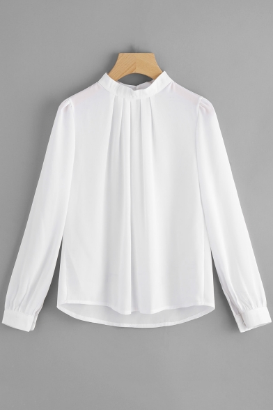 Women's Chic Simple Solid Color Stand-Collar Long Sleeve Loose Chiffon Blouse