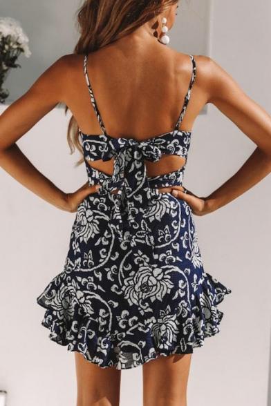 Womens Summer Stylish Floral Printed Cutout Back Ruffled Hem Mini Slip Dress