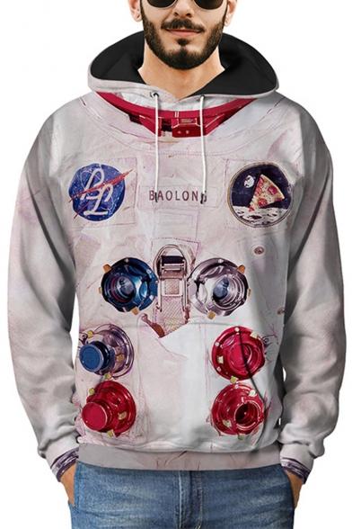 3D Astronaut Graphic Printed Long Sleeve Hoodie