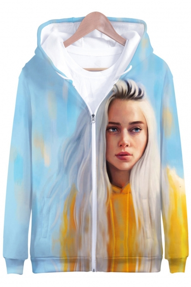 American Singer-Songwriter New Trendy 3D Portrait Printed Loose Fit Long Sleeve Zip Up Hoodie
