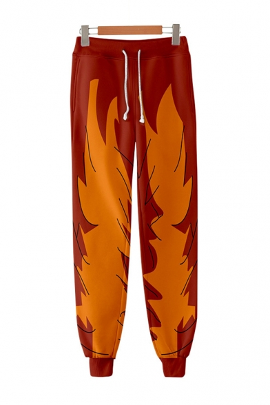 Dragon Ball Goku Cool 3D Printed Drawstring Waist Loose Fit Cotton Red Sweatpants